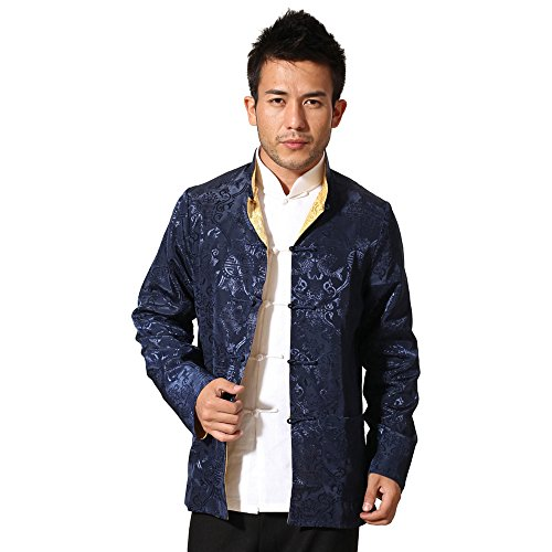 ZooBoo Chinese Clothing Tang Suit - Reversible Traditional China Ancient Costume Male Martial Arts Tang Suit Coats Kung Fu Long Sleeve Jacket Both Sides Wear Tops for Men (M, Navy with (Cheap Dance Costumes From China)