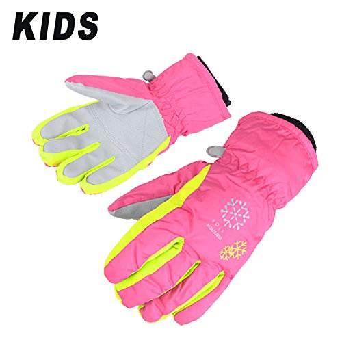 AMYIPO Kids Winter Snow Ski Gloves Waterpoof Children Snowboard Gloves for Boys Girls (Pink, XS (3-5 Years)) (Winter Girls Gloves)