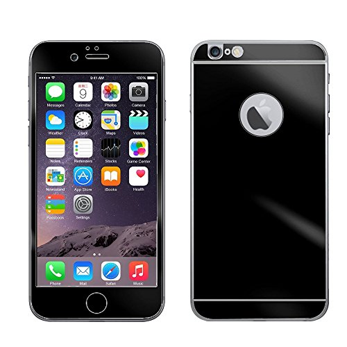 Electroplating Mirror Effect Tempered Glass Screen Protector Guard Front   Back Full Body Cover Skin Premium Anti Scratch Bubble Free For Iphone 6 Plus 5 5  5 5 Inch  Black