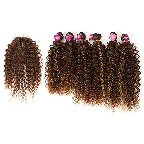 Style Icon Synthetic Kinky Curly Blonde Hair 16-20 inch 7Pieces/lot High Temperature Fiber Afro Kinky Curly Hair 6 Pieces With Closure Lace For Black Women (161618182020+16, HL433/613+1427)