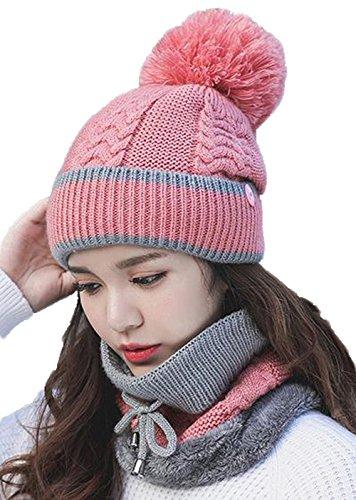 AIJUAN 帽子 レディース 保温 防風 ニット マスク マフラー 耳覆い 3ピースセット 取り外し 防寒 厚手 通学 通勤 カジュアルフ おしゃれ 可愛い ファッション