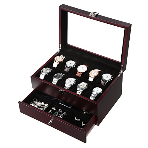 SONGMICS Mens Wooden Watch Box 10 Slots Jewelry Organizer Storage Case with Real Glass Top, Father's Day Gift, UJOW02Z