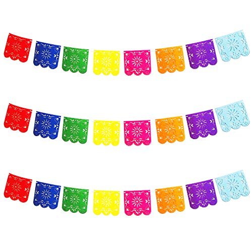 3 Pack Felt Fabric Large Papel Picado Banner for Fiesta Mexican Party Decorations,Cinco De Mayo Party Supplies, Tissue Paper Banner Garland Full of Wishes -