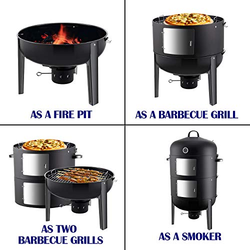 Realcook 20 Inch BBQ Smoker, 6 in 1 Large Round Steel Barbecue Charcoal Grill for Outdoor Cooking, 969 sq.in Cooking Squre, Black