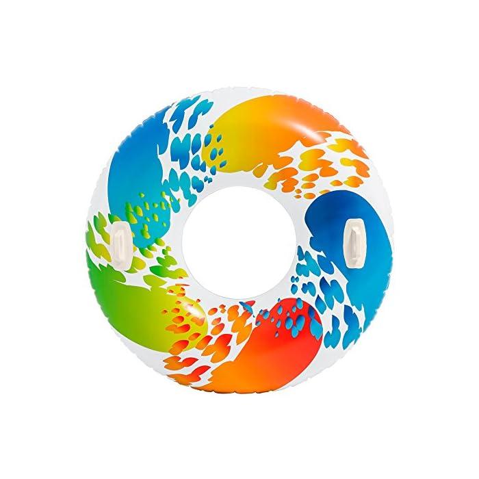 51QRCwhKmTL Rueda hinchable Intex de 122 cm de diámetro con diseño multicolor que combina las tonalidades: rojo, naranja, verde y azul sobre fondo blanco La rueda hinchable de agua está fabricada con vinilo resistente La rueda dispone de 2 asas resistentes para un fácil transporte y mayor sujeción