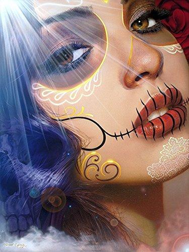 [Into the Light by Daniel Esparza Sexy Death Mask Woman Tattoo Fine Art Print] (Death Dealer Mask)