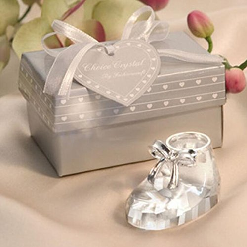 Crystal Baby Shoe For Wedding & Baby Shower Favors, Set of 24 ()