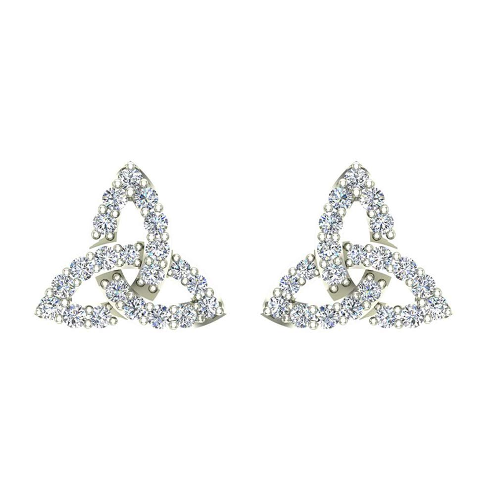 0.48 Ct Round Cut Simulated Diamond Celtic Knot stud Earrings 14K White Gold Over