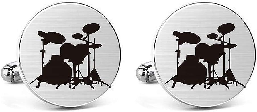 MUEEU Drum Cufflinks Drum Set Drum Kit Drummer Mens Gifts Drum Player Sax Musical Instrument Cufflinks