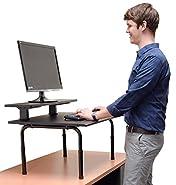 Standing Desktop Converter with Monitor Shelf - Convert your Desk to a Standing Desk in Seconds! Sit to Stand Desk Converter