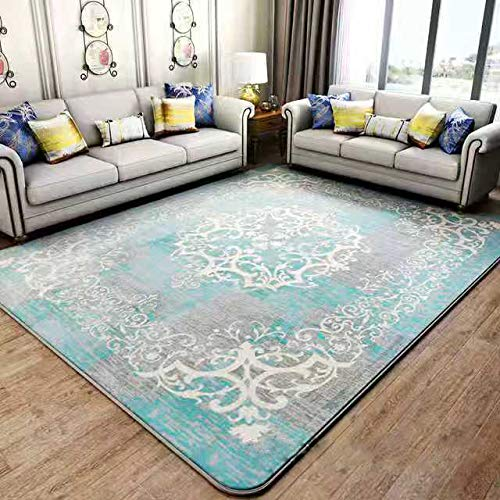 Blanket Area Rug Collection Scroll Abstract Design Area Rug Rugs Slip Skid Resistant Backing (Blue, 4x6 (4'3