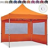 TOOLPORT PopUp Gazebo Aluminium 3x3m - 2 sidewalls orange Folding tent Party tent Market Shelter 100% waterproof roof