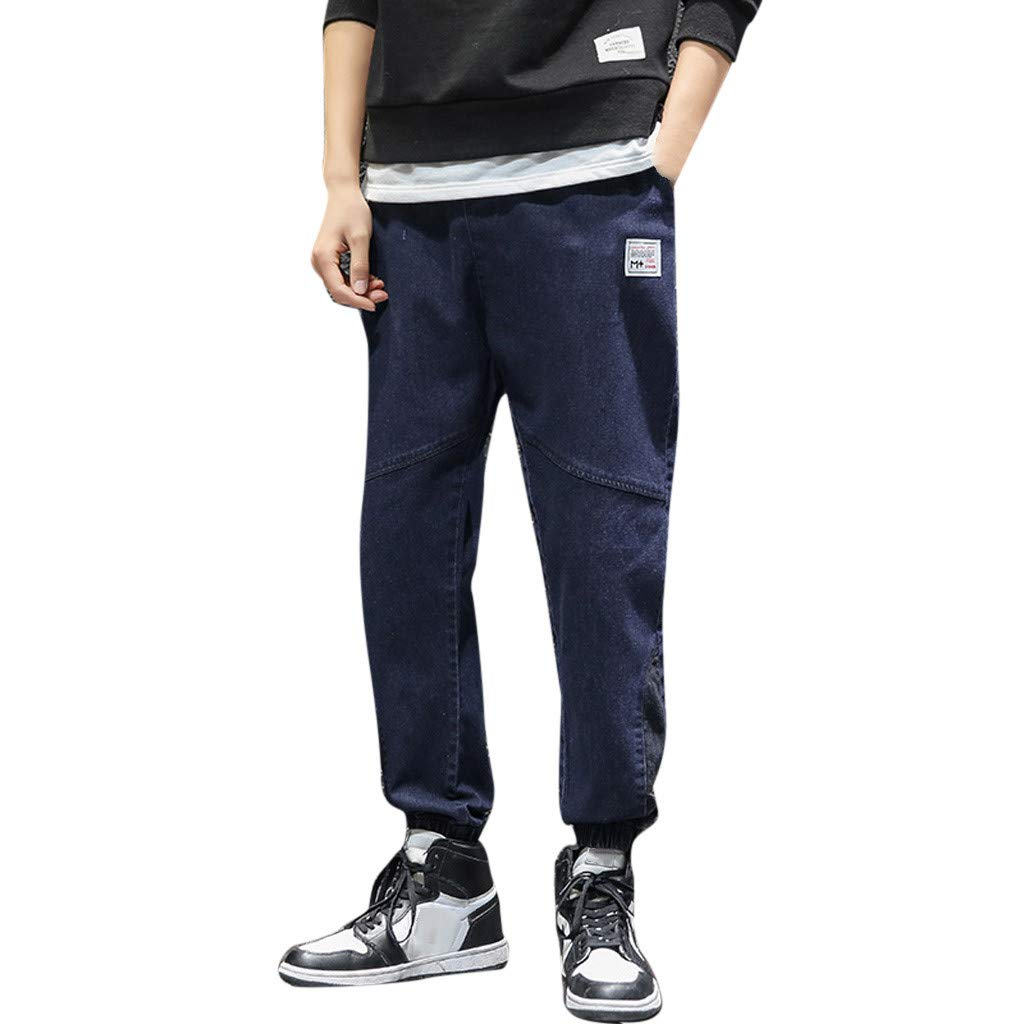 Men Elastic Waist Jeans Cotton Pure Color Pockets Loose Pant Lightweight Workwear Pull On Casual Cargo Pants