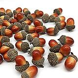 Yeenee 100pcs Artificial Acorns with Natural Acorn