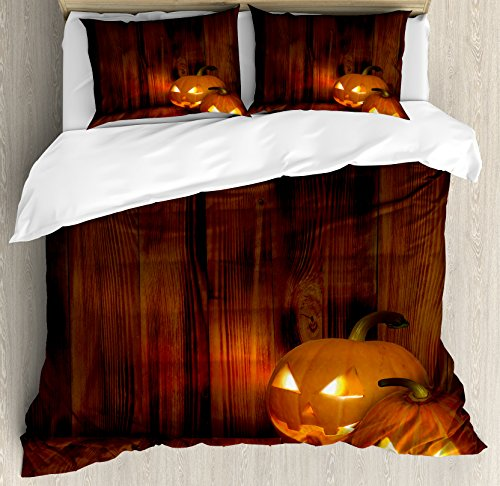 Lunarable Pumpkin Duvet Cover Set Queen Size, Jack o Lanterns Scary Halloween Photograph in a Wooden Interior Fall Themed Image, Decorative 3 Piece Bedding Set with 2 Pillow Shams, Orange Black -
