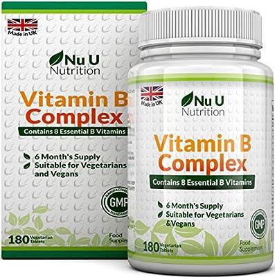 Vitamina B Complex | 180 Comprimidos (Suministro para 6 meses) | Contiene Ocho Vitaminas del grupo B por Comprimido: B1, B2, B3, B5, B6, B12, ...