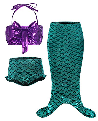 HenzWorld Little Mermaid Costume Swimsuit Dress Up Tail Ariel Princess Girls Birthday Cosplay Clothes Set ()