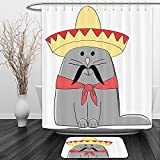 Vipsung Shower Curtain And Ground MatCat Lover Decor Collection Modern Illustration of Latino Kitten with Mexican Hat and Moustache Artsy Mascot Grey White RedShower Curtain Set with Bath Mats Rugs