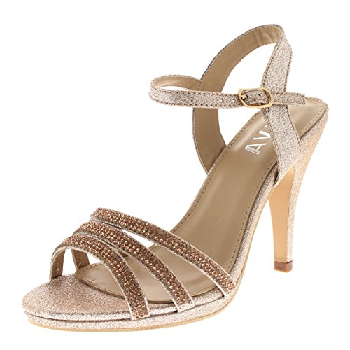 Viva Womens Diamante Mid Heel Ankle Strap Wedding Party Evening Party Sandals Shoes - Rose Gold KL0307R 8US/39 by Viva