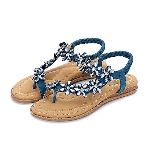 Bohemia Clipping Ethnique Sandales Fond Comfort Plat Aqua Toe Femmes Style Strass pour Blue ztTdqY