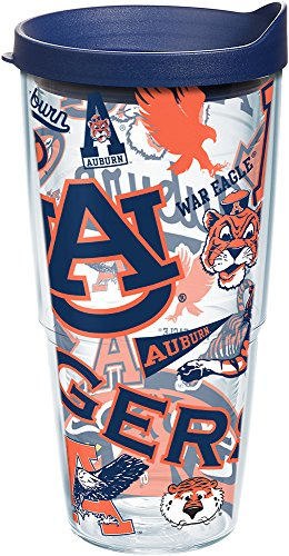 Tigers Ncaa Travel Tumbler - Tervis 1239074 NCAA Auburn Tigers All Over Tumbler with Lid, 24 oz, Clear