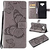 Note 9 Case,Note 9 Wallet Case,Galaxy Note 9 Case with Card Holder,Folio Flip PU Leather Butterfly Case Cover with Credit Card Slots Kickstand Phone Protective Case for Samsung Galaxy Note 9,