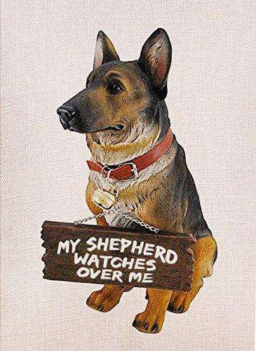 Dyrenson Home Decorative Outdoor Dog Theme Garden Flag German Shepherd, Dog House Yard Flag, Animal Garden Yard Decorations, Seasonal Outdoor Flag 12 x 18 for Dog Lover (House German Art)