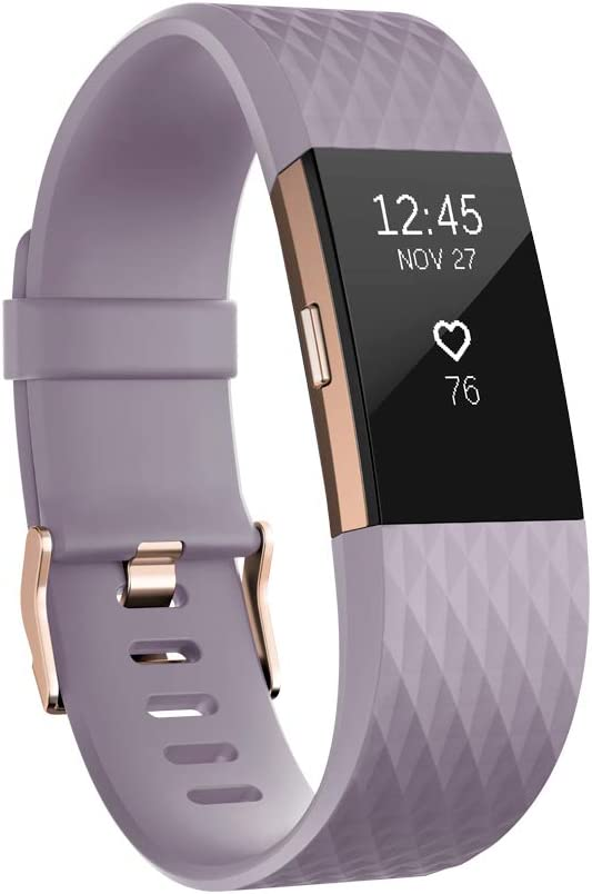 Fitbit Charge 2 Heart Rate + Fitness Wristband, Special Edition, Lavender Rose Gold, Large (International Version)