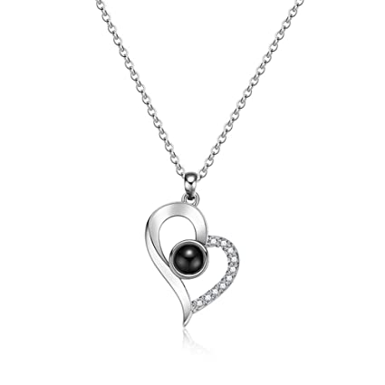 281aa6f67 Amazon.com: Jetloter I Love You Heart Shaped Necklace, 100 Languages  Projection on Round Onyx Pendant Collarbone Necklace Silver: Arts, Crafts &  Sewing