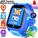 FREE SIM Included-Kids Smart Watch Phone IP68 Waterproof GPS Tracker For Girls Boys Children Halloween Christmas Birthday Gift Game Sport Fitness Watch Touchscreen Pedometer SOS Camera For IOS/Android