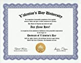 Valentine's Day Degree: Custom Gag Diploma Valentines Doctorate Certificate (Funny Customized Joke Gift - Novelty Item)