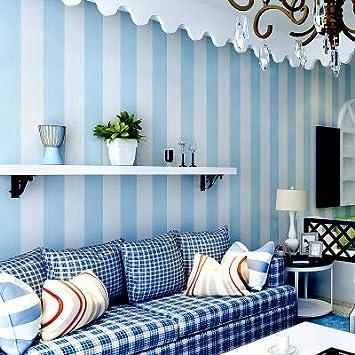 UCCUN Modernes Schlafzimmer Blau Und Weiße Vertikale Streifen Tapeten Non  Woven Kinderzimmer Tapete Für Wände Junge