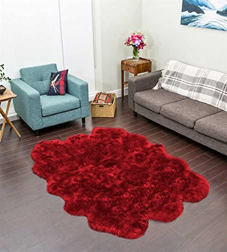 Longfeng Genuine Sheepskin Rug Wine Red Sexto Pelt Natural Fur – Sheepskin Rug Pad for Bedroom Living Room Sexto 6ft x 6ft,Wine Red