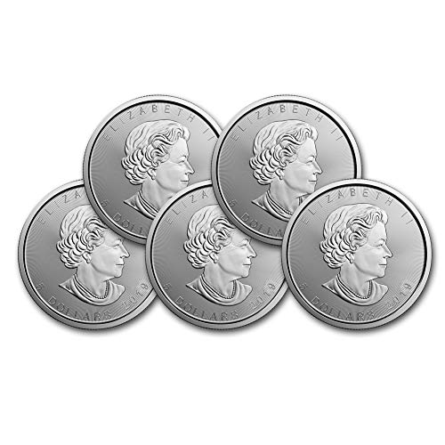 2019 Lot of (5) 1oz Silver Maple Leaf $5 Brilliant Uncirculated (Price Of 1 Oz Gold American Eagle)