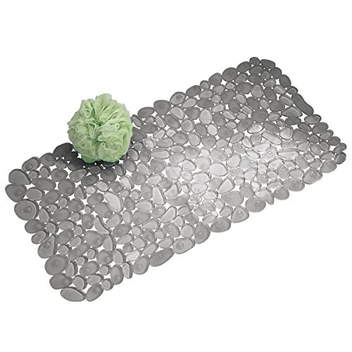 mDesign Pebbles Non Slip Shower Mats with Suction Cups - Anti Slip Bath Mat - No Slip Bathroom Floor Mats for Shower or Bathtubs - Suction Bath Mat - Graphite MetroDecor