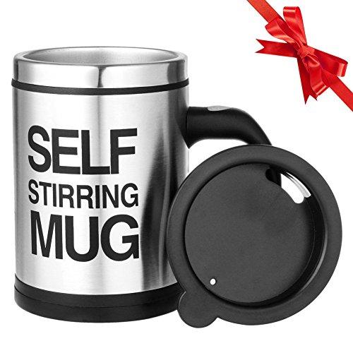 Self Stirring Coffee Mug Set of 2 (Black/Silver) - 2