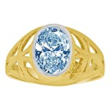 14k Yellow Gold, Small Size Child Ring Adult Pinky Ring Created Cubic Zirconia Crystal Cross Design Aqua Blue