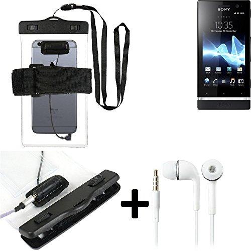 Estuche estanco al agua con entrada de auriculares para Sony Xperia U + auricular incluido, transparente | Trotar bolsa de playa al aire libre caja brazalete del teléfono caso de cáscara bajo playa -
