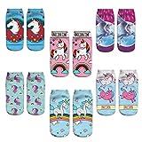 Zmart Unicorn No Show Low Cut Socks for Girls 6 Pairs 3D Cartoon Funny Amazing Design