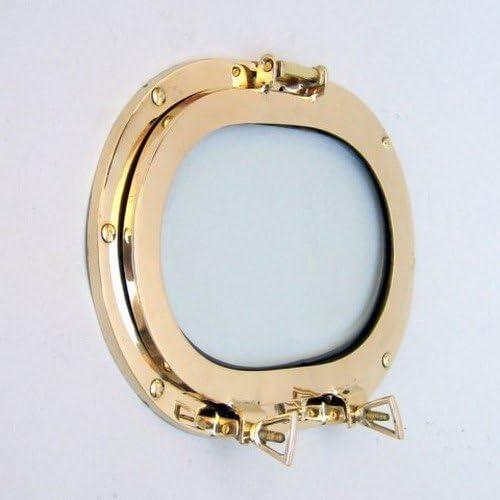 Brass Porthole Oblong w Glass, 12 – Nautical Decor