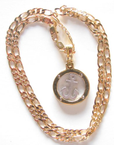 14k Gold Overlay Figaro Link Necklace 19.5