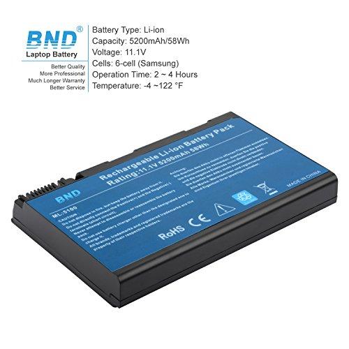 BND Laptop Battery [with Samsung Cells] for Acer BATBL50L6, Acer Aspire 5515 5100 3100 5610 5630, Travelmate 2490, also fits BATBL50L8H BATBL50L4 BATBL50L8H - 24 Months Warranty [6-Cell 5200mAh/58Wh] by BND (Image #1)
