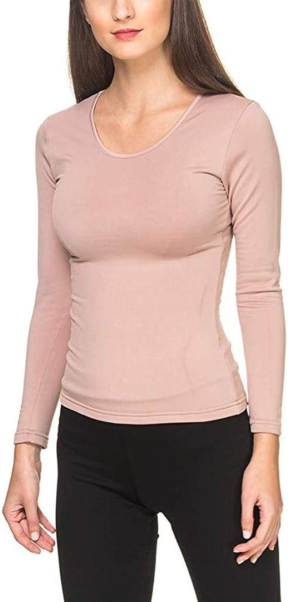Mujer Invierno Cálido Ligero Camiseta térmica Manga Larga Top Ropa de Dormir Blusa Camisa: Amazon.es: Ropa y accesorios