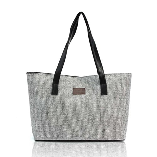 Shopping Beige Handbag Bags Linen Canvas Anyada Women Fashion Totes Shoulder Gray Casual nXwBvnYp
