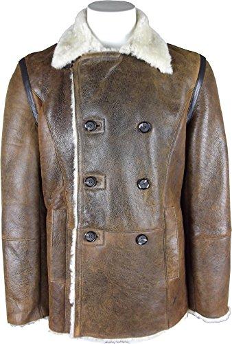 UNICORN Hommes Manteau en mouton - Antique Marron avec Crème Fourrure - Réel cuir veste #GP