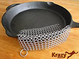 Stainless Steel Chainmail Scrubber - Cast Iron Cleaner - XL 8 X 6 inches - 316 Highest Grade Stainless - Safe and Easy for Cast Iron Pans & Cookware - by Krazy Outdoors