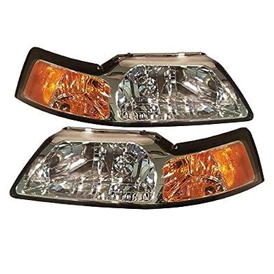 HEADLIGHTSDEPOT Headlights Set Driver Left Passenger Right Compatible with 1999-2004 Ford Mustang GT SVT Cobra