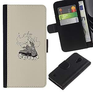 JackGot ( Patinador Zapatos ) Samsung Galaxy S4 IV I9500 la tarjeta de Crédito Slots PU Funda de cuero Monedero caso cubierta de piel