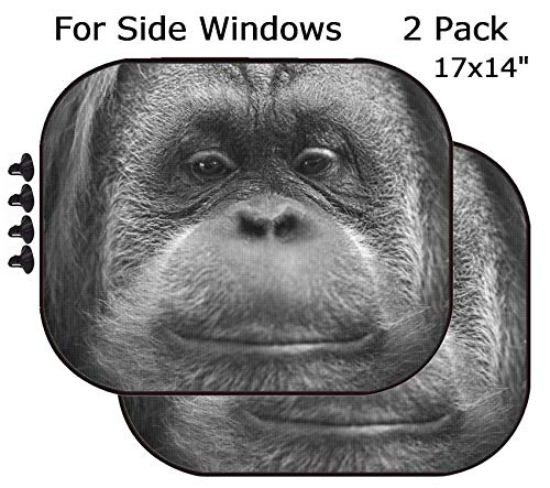 MSD Car Sun Shade - Side Window Sunshade Universal Fit 2 Pack - Block Sun Glare, UV and Heat for Baby and Pet - Orang utan Monkey Portrait While Looking at yuo Image 33721268 Customized Tab ()