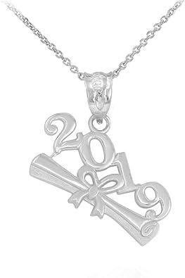 925 Sterling Silver 2019 Graduation Cap Pendant Necklace
